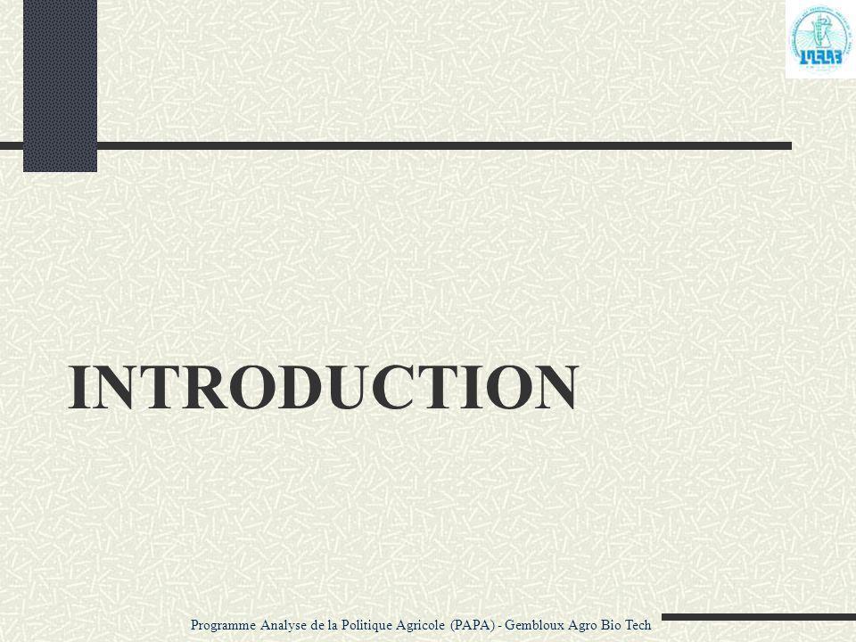 DONNEES Programme Analyse de la Politique Agricole (PAPA) - Gembloux Agro Bio Tech