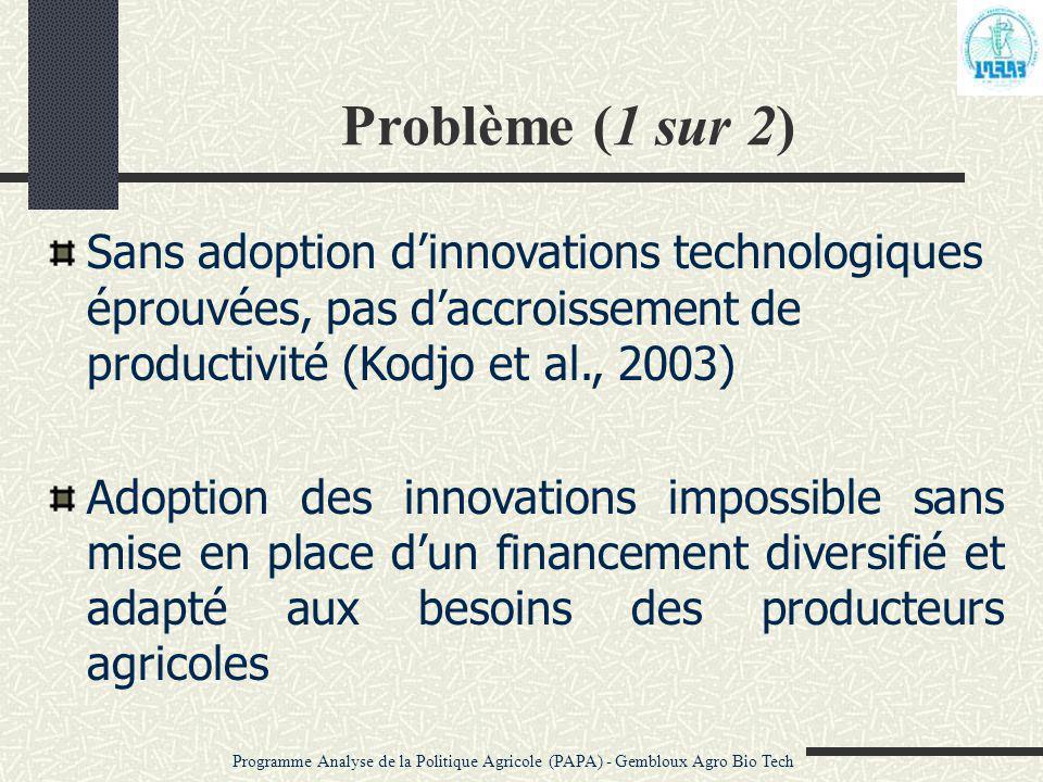 Problème (1 sur 2) Sans adoption d'innovations technologiques éprouvées, pas d'accroissement de productivité (Kodjo et al., 2003) Adoption des innovat