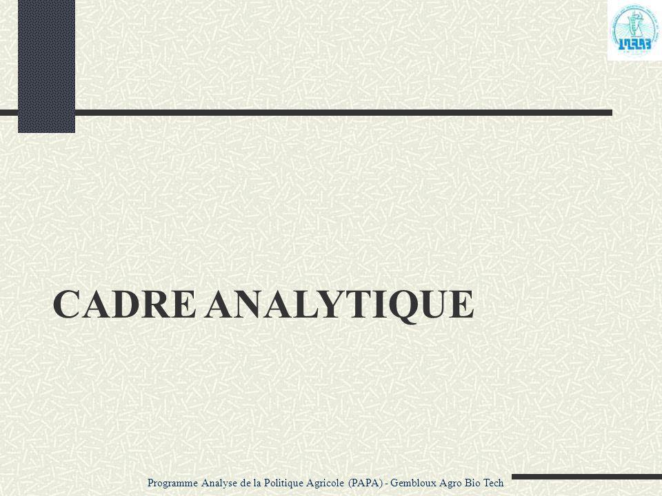 CADRE ANALYTIQUE Programme Analyse de la Politique Agricole (PAPA) - Gembloux Agro Bio Tech