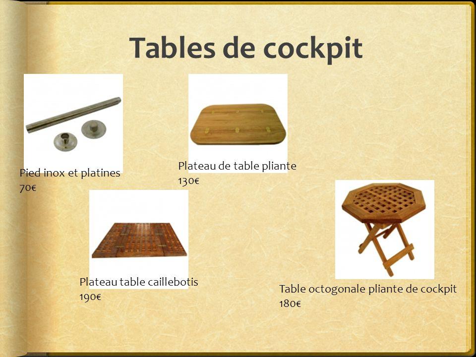Tables de cockpit Pied inox et platines 70€ Plateau de table pliante 130€ Plateau table caillebotis 190€ Table octogonale pliante de cockpit 180€