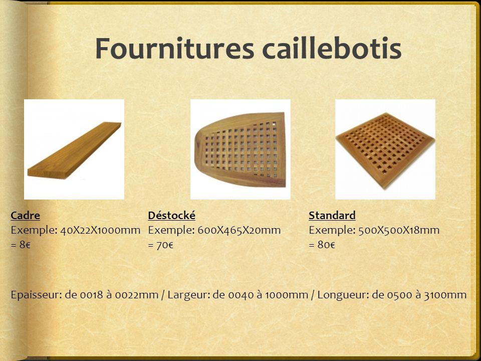 Fournitures caillebotis Cadre Exemple: 40X22X1000mm = 8€ Déstocké Exemple: 600X465X20mm = 70€ Standard Exemple: 500X500X18mm = 80€ Epaisseur: de 0018 à 0022mm / Largeur: de 0040 à 1000mm / Longueur: de 0500 à 3100mm