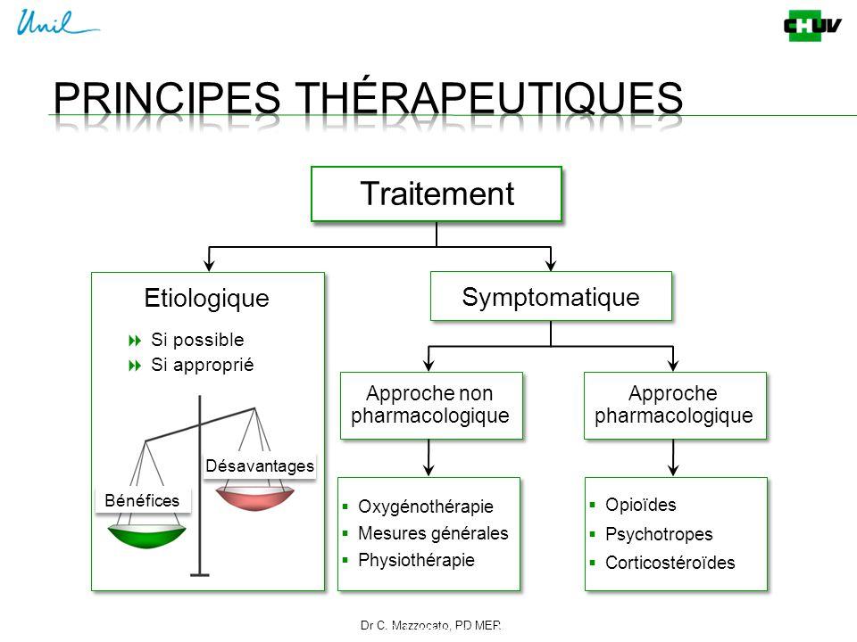 Dr C. Mazzocato, PD MER 14 C. Mazzocato Traitement Symptomatique  Oxygénothérapie  Mesures générales  Physiothérapie  Oxygénothérapie  Mesures gé
