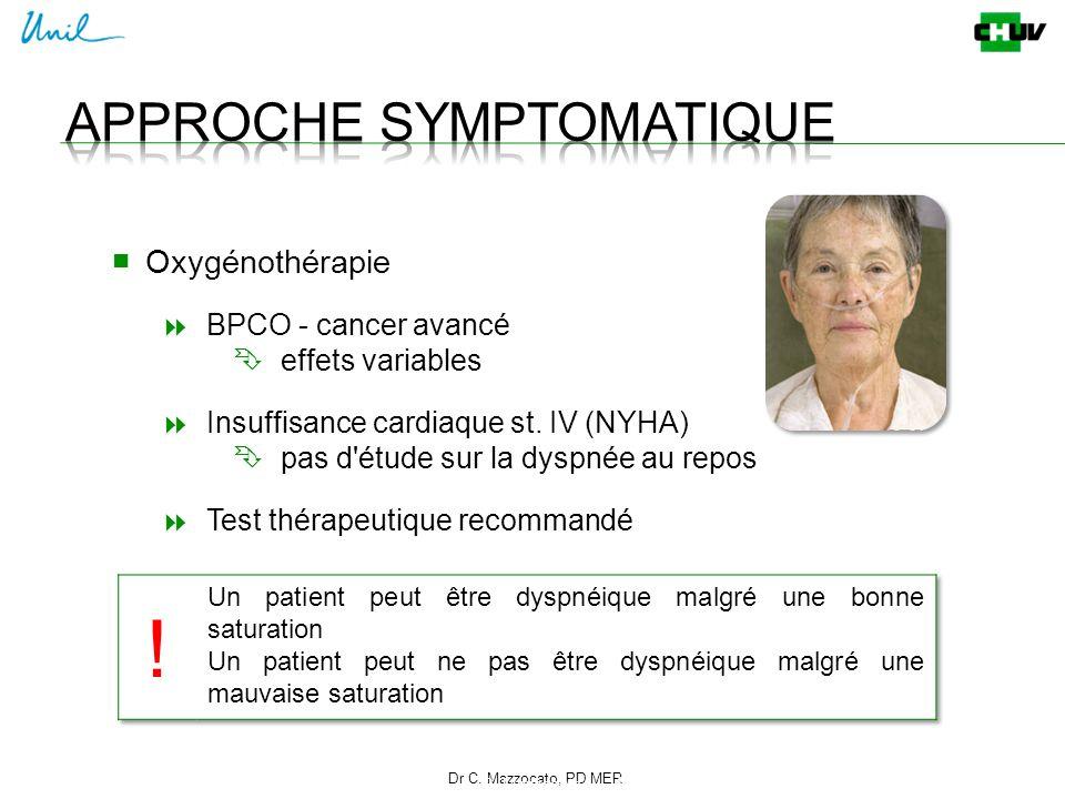 Dr C. Mazzocato, PD MER 16 C. Mazzocato ■ Oxygénothérapie  BPCO - cancer avancé  effets variables  Insuffisance cardiaque st. IV (NYHA)  pas d'étu