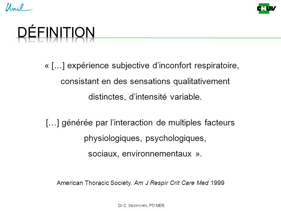 Dr C. Mazzocato, PD MER 2 C. Mazzocato « […] expérience subjective d'inconfort respiratoire, consistant en des sensations qualitativement distinctes,