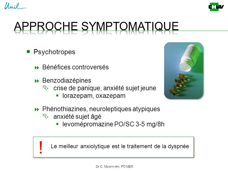 Dr C. Mazzocato, PD MER 21 C. Mazzocato ■ Psychotropes  Bénéfices controversés  Benzodiazépines  crise de panique, anxiété sujet jeune  lorazepam,