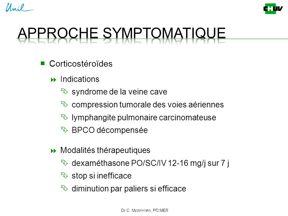 Dr C. Mazzocato, PD MER 22 C. Mazzocato ■ Corticostéroïdes  Indications  syndrome de la veine cave  compression tumorale des voies aériennes  lymp