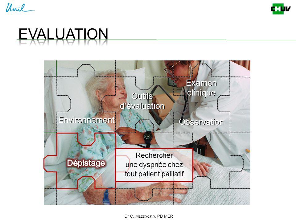 Dr C. Mazzocato, PD MER 8 C. Mazzocato Environnement Outils d'évaluation Rechercher une dyspnée chez tout patient palliatif Examen clinique Examen cli