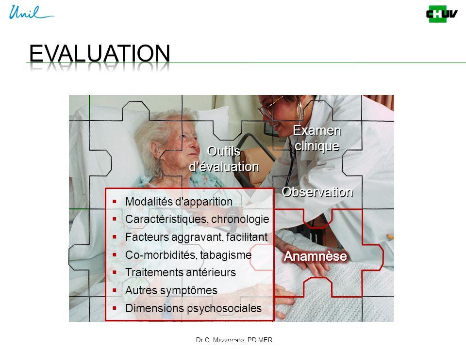 Dr C. Mazzocato, PD MER 9 C. Mazzocato Outils d'évaluation  Modalités d'apparition  Caractéristiques, chronologie  Facteurs aggravant, facilitant 