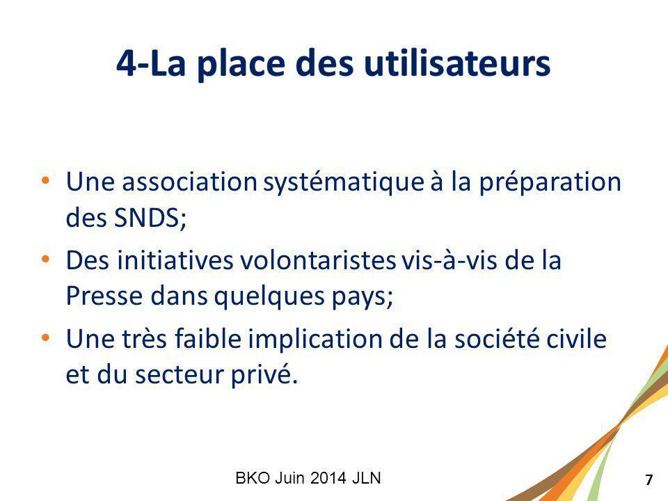 7 Une association systématique à la préparation des SNDS; Des initiatives volontaristes vis-à-vis de la Presse dans quelques pays; Une très faible implication de la société civile et du secteur privé.