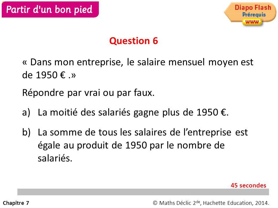« Dans mon entreprise, le salaire mensuel moyen est de 1950 €.» Répondre par vrai ou par faux.