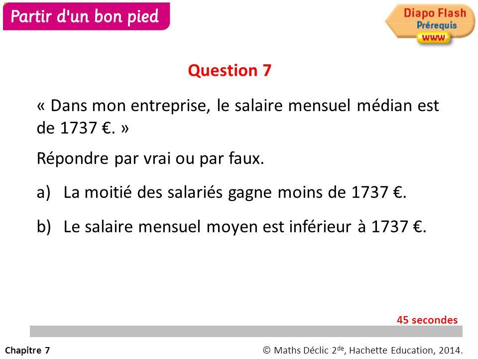 « Dans mon entreprise, le salaire mensuel moyen est de 1950 €.» Répondre par vrai ou par faux. a)La moitié des salariés gagne plus de 1950 €. b)La som