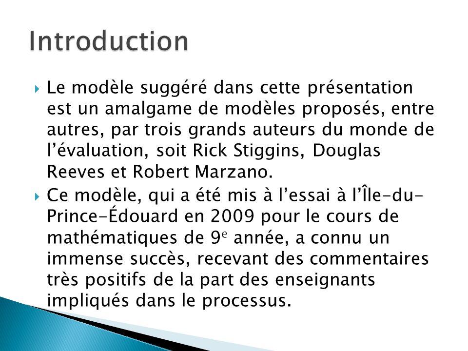  Le modèle suggéré dans cette présentation est un amalgame de modèles proposés, entre autres, par trois grands auteurs du monde de l'évaluation, soit Rick Stiggins, Douglas Reeves et Robert Marzano.