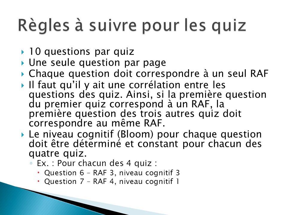 10 questions par quiz  Une seule question par page  Chaque question doit correspondre à un seul RAF  Il faut qu'il y ait une corrélation entre les questions des quiz.
