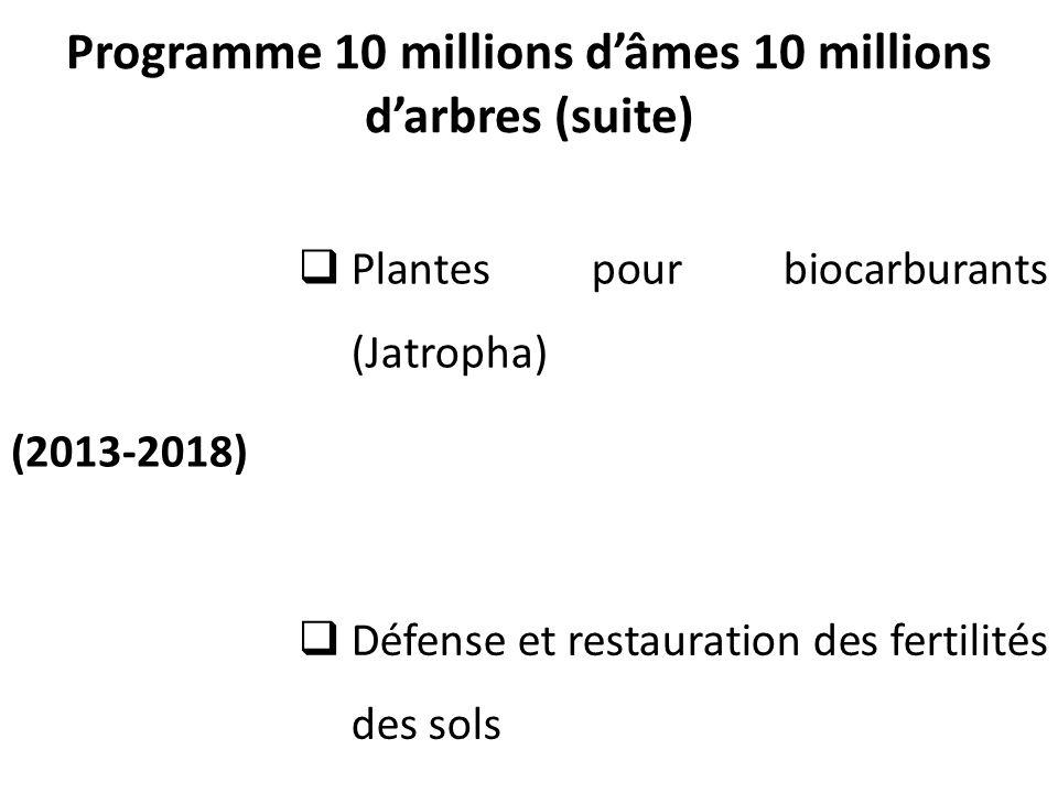 Programme 10 millions d'âmes 10 millions d'arbres (suite) (2013-2018)  Plantes pour biocarburants (Jatropha)  Défense et restauration des fertilités des sols 9