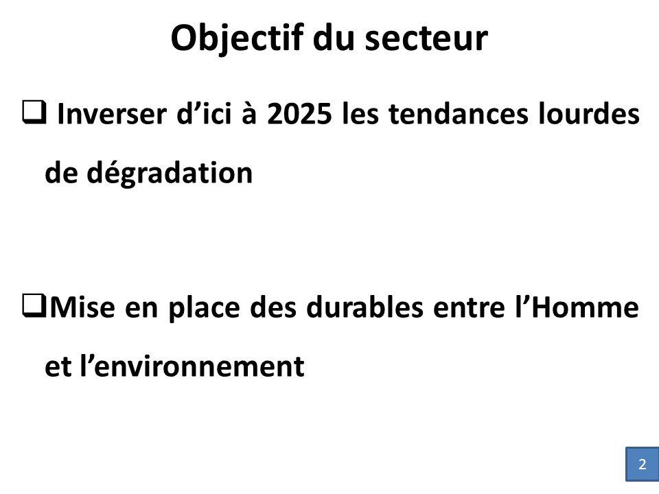 Objectif du secteur  Inverser d'ici à 2025 les tendances lourdes de dégradation  Mise en place des durables entre l'Homme et l'environnement 2