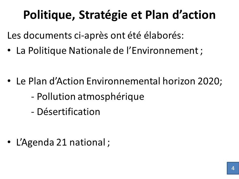Les documents ci-après ont été élaborés: La Politique Nationale de l'Environnement ; Le Plan d'Action Environnemental horizon 2020; - Pollution atmosphérique - Désertification L'Agenda 21 national ; 4 Politique, Stratégie et Plan d'action