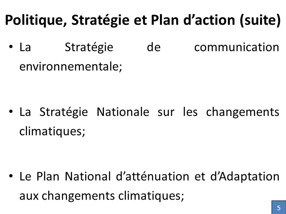 La Stratégie de communication environnementale; La Stratégie Nationale sur les changements climatiques; Le Plan National d'atténuation et d'Adaptation aux changements climatiques; 5 Politique, Stratégie et Plan d'action (suite)