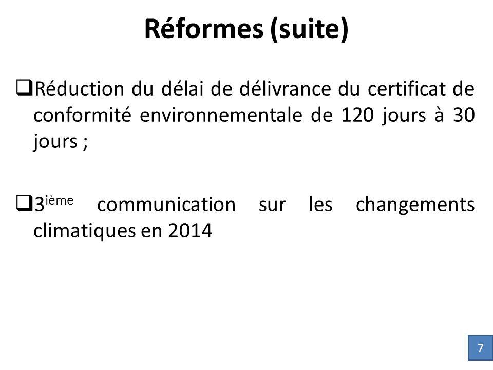 Réformes (suite)  Réduction du délai de délivrance du certificat de conformité environnementale de 120 jours à 30 jours ;  3 ième communication sur les changements climatiques en 2014 7
