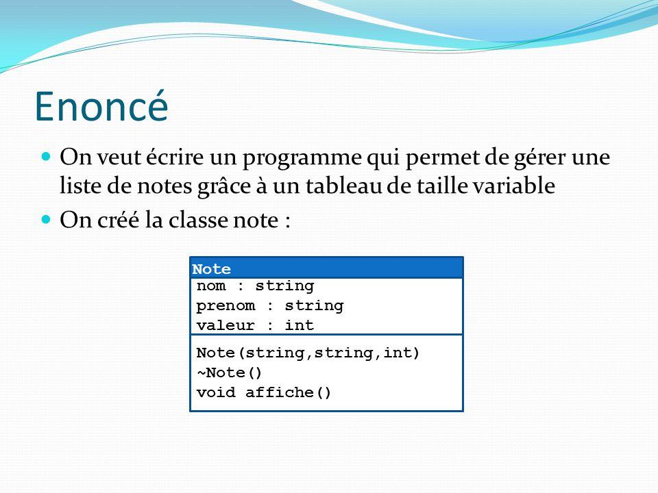 Enoncé On veut écrire un programme qui permet de gérer une liste de notes grâce à un tableau de taille variable On créé la classe note : Note Note(str