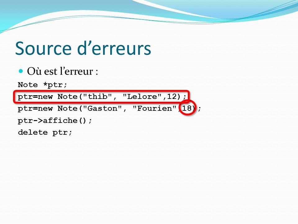 Source d'erreurs Où est l'erreur : Note *ptr; ptr=new Note(