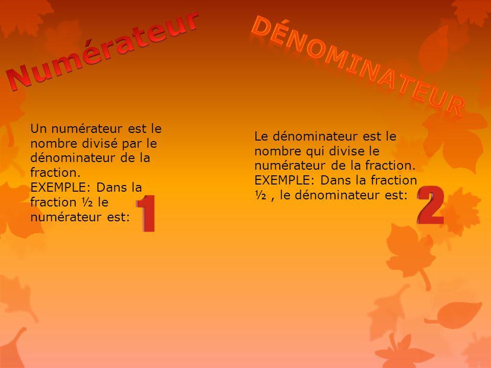 Un numérateur est le nombre divisé par le dénominateur de la fraction.