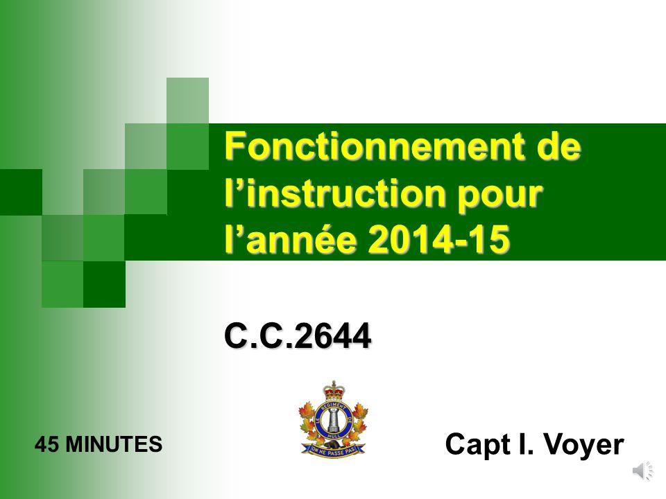 Fonctionnement de l'instruction pour l'année 2014-15 C.C.2644 45 MINUTES Capt I. Voyer
