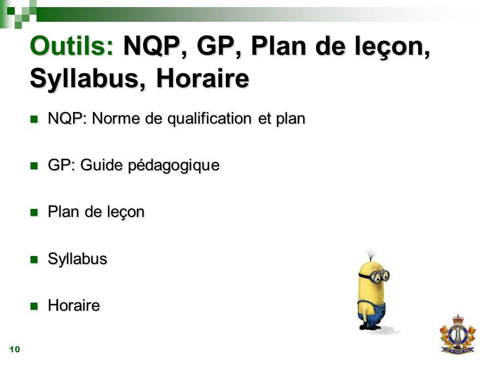 10 Outils: NQP, GP, Plan de leçon, Syllabus, Horaire NQP: Norme de qualification et plan NQP: Norme de qualification et plan GP: Guide pédagogique GP: Guide pédagogique Plan de leçon Plan de leçon Syllabus Syllabus Horaire Horaire