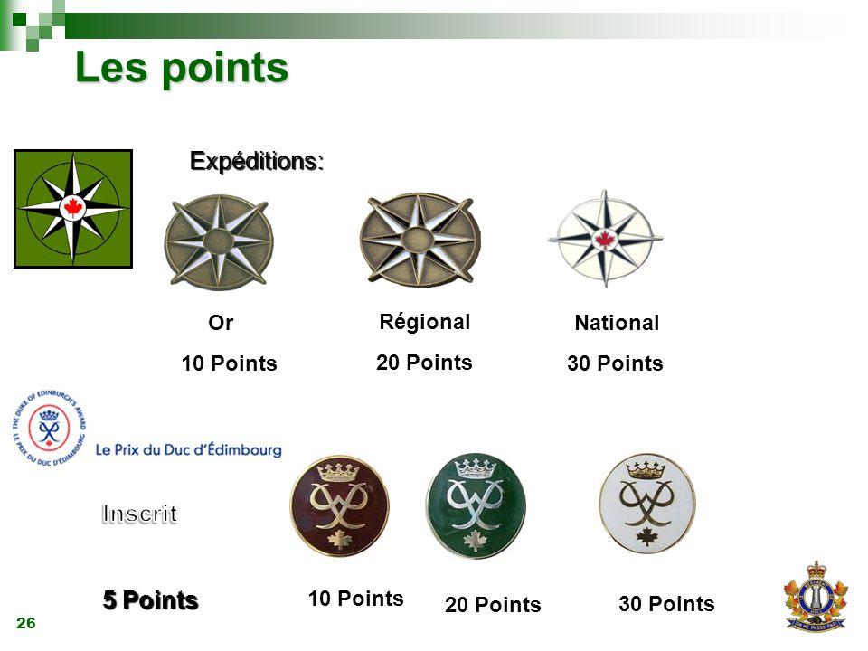 26 Les points 10 Points Or 20 Points Régional 30 Points National 10 Points 20 Points 30 Points