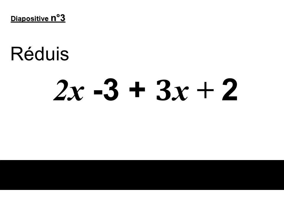 Diapositive n°3 Réduis