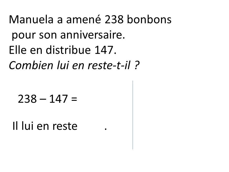 238 – 147 = Il lui en reste.Manuela a amené 238 bonbons pour son anniversaire.