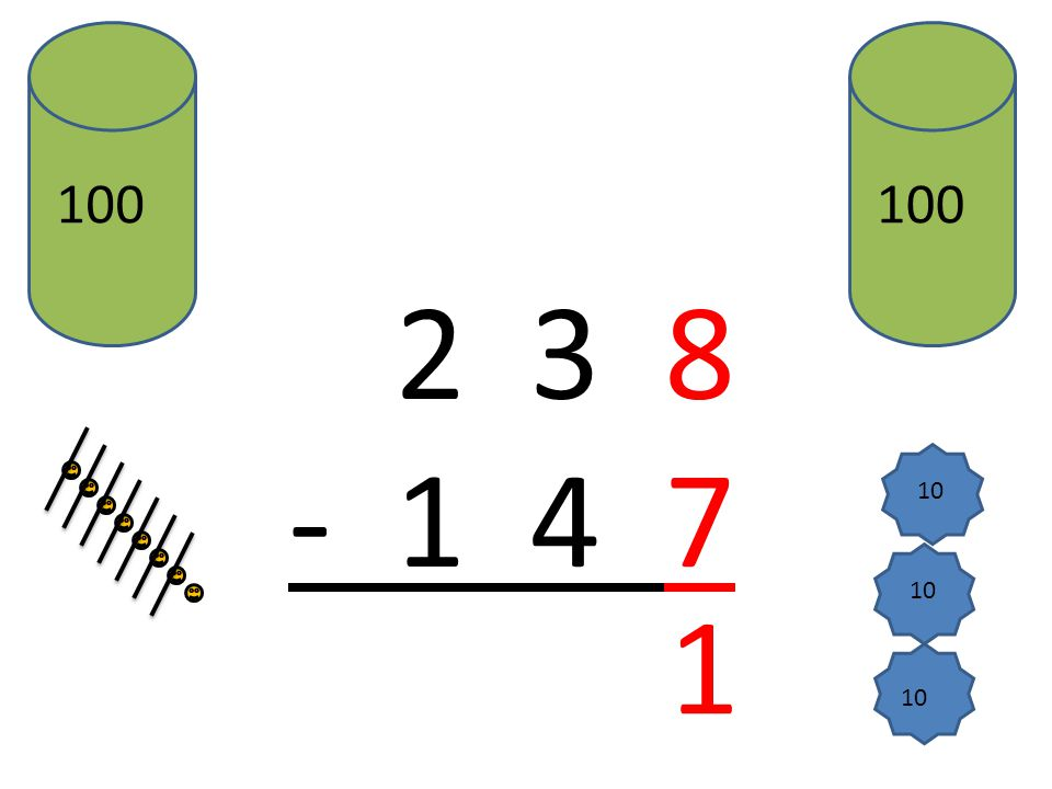 2 3 8 - 1 4 7 1 10 1 1 9 Et : 1 – 1 = 0 0