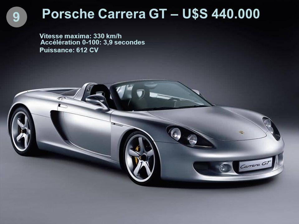 9 Porsche Carrera GT – U$S 440.000 Vitesse maxima: 330 km/h Accélération 0-100: 3,9 secondes Puissance: 612 CV