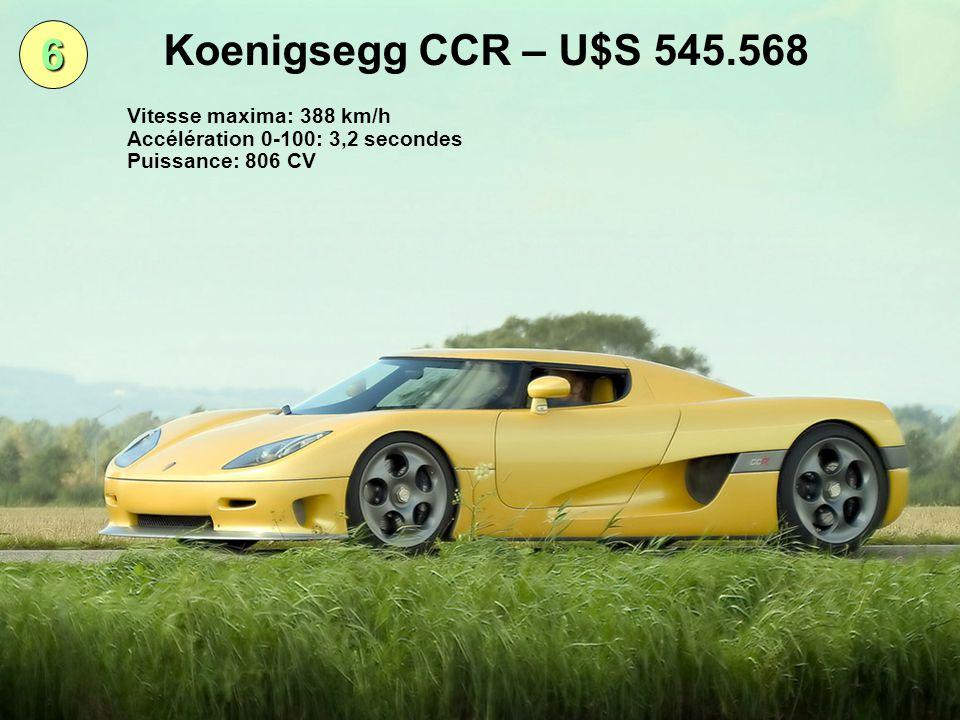 6 Koenigsegg CCR – U$S 545.568 Vitesse maxima: 388 km/h Accélération 0-100: 3,2 secondes Puissance: 806 CV