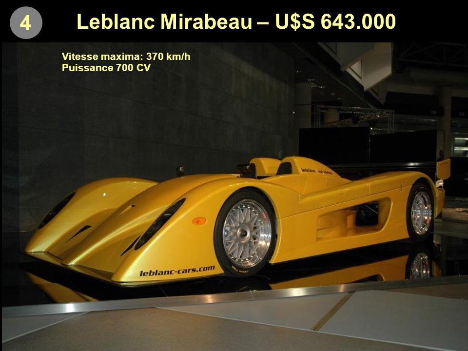 5 Saleen S7 Twin Turbo – U$S 637.723 Vitesse maxima: 390 km/h Accélération 0-100: 2,8 secondes Puissance: 750 CV