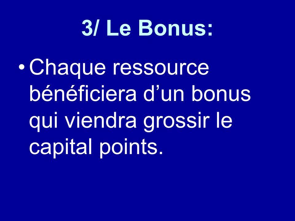3/ Le Bonus: Chaque ressource bénéficiera d'un bonus qui viendra grossir le capital points.