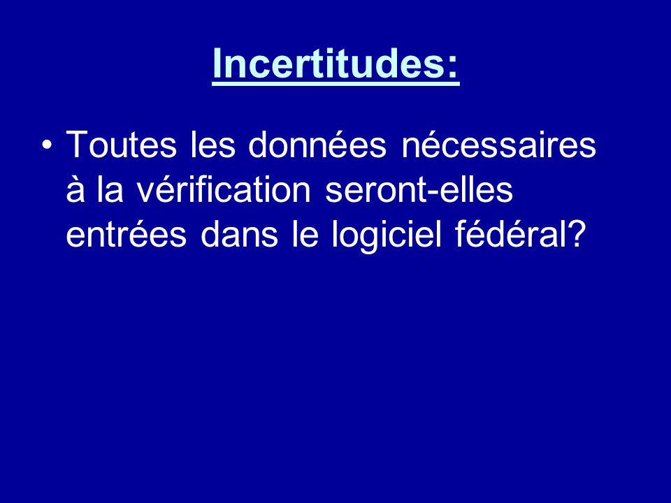 Incertitudes: Toutes les données nécessaires à la vérification seront-elles entrées dans le logiciel fédéral?