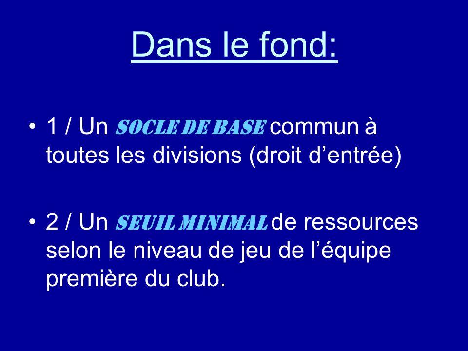 Dans le fond: 1 / Un socle de base commun à toutes les divisions (droit d'entrée) 2 / Un seuil minimal de ressources selon le niveau de jeu de l'équipe première du club.