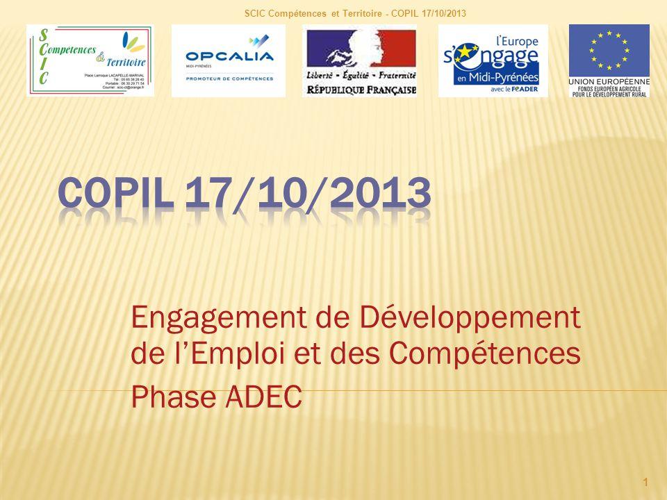 Engagement de Développement de l'Emploi et des Compétences Phase ADEC SCIC Compétences et Territoire - COPIL 17/10/2013 1