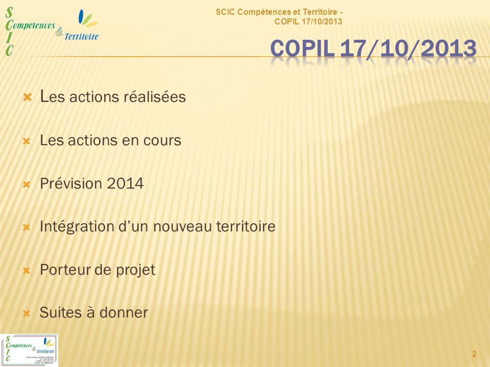  L es actions réalisées  Les actions en cours  Prévision 2014  Intégration d'un nouveau territoire  Porteur de projet  Suites à donner SCIC Compétences et Territoire - COPIL 17/10/2013 2