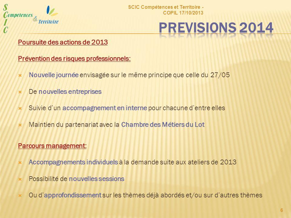 Poursuite des actions de 2013 Prévention des risques professionnels:  Nouvelle journée envisagée sur le même principe que celle du 27/05  De nouvell