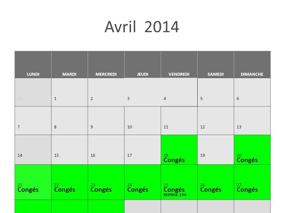 Avril 2014 LUNDIMARDIMERCREDIJEUDIVENDREDISAMEDIDIMANCHE 31 123456 7 891011 1213 14 15161718 Congés 1920 Congés 21 Congés 22 Congés 23 Congés 24 Congé