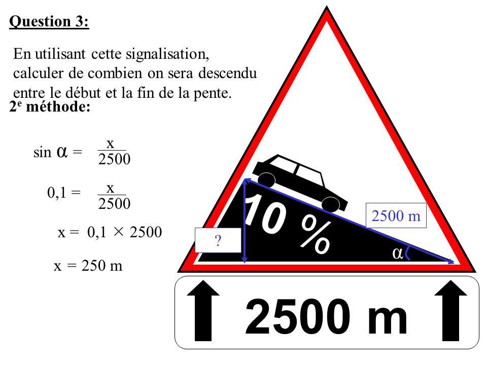10 % Question 3: En utilisant cette signalisation, calculer de combien on sera descendu entre le début et la fin de la pente. 2500 m 2 e méthode: ? 25