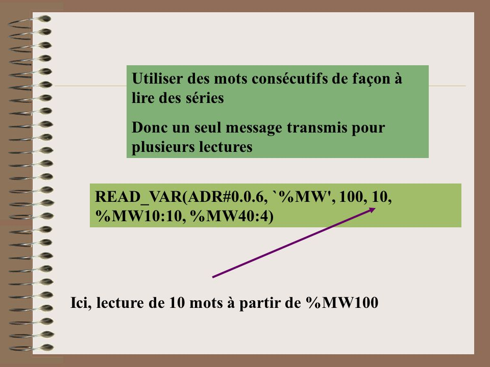 READ_VAR(ADR#0.0.6, `%MW', 100, 10, %MW10:10, %MW40:4) Utiliser des mots consécutifs de façon à lire des séries Donc un seul message transmis pour plu