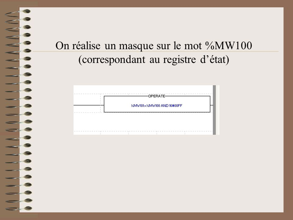 On réalise un masque sur le mot %MW100 (correspondant au registre d'état)
