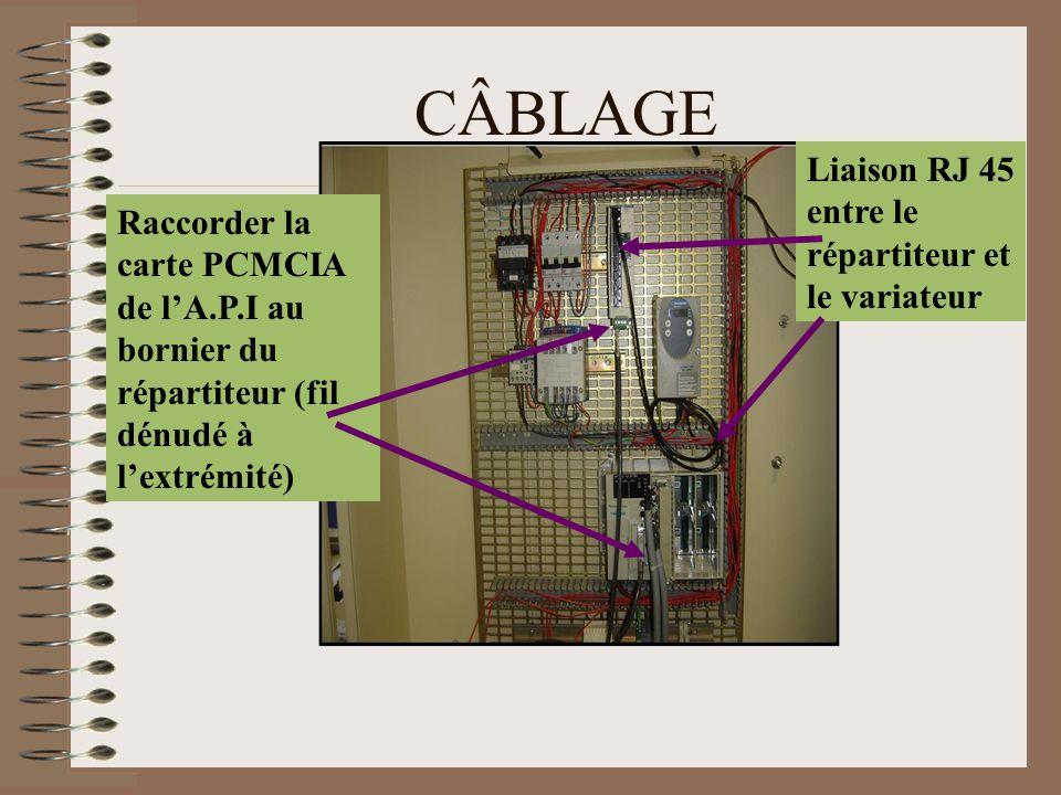 CÂBLAGE Raccorder la carte PCMCIA de l'A.P.I au bornier du répartiteur (fil dénudé à l'extrémité) Liaison RJ 45 entre le répartiteur et le variateur