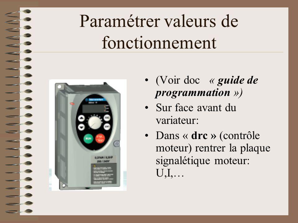 Paramétrer valeurs de fonctionnement (Voir doc « guide de programmation ») Sur face avant du variateur: Dans « drc » (contrôle moteur) rentrer la plaq