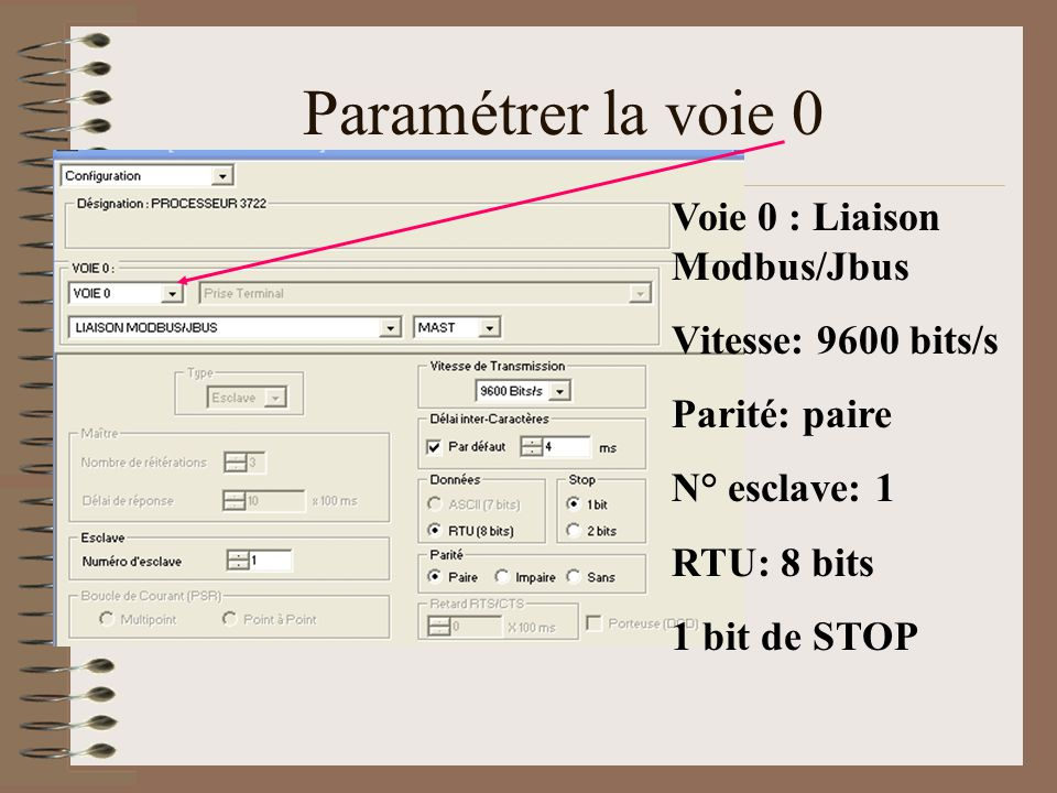 Paramétrer la voie 0 Voie 0 : Liaison Modbus/Jbus Vitesse: 9600 bits/s Parité: paire N° esclave: 1 RTU: 8 bits 1 bit de STOP