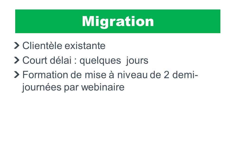 SIMACS Clientèle existante Court délai : quelques jours Formation de mise à niveau de 2 demi- journées par webinaire Migration