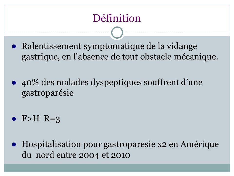 Définition Ralentissement symptomatique de la vidange gastrique, en l absence de tout obstacle mécanique.
