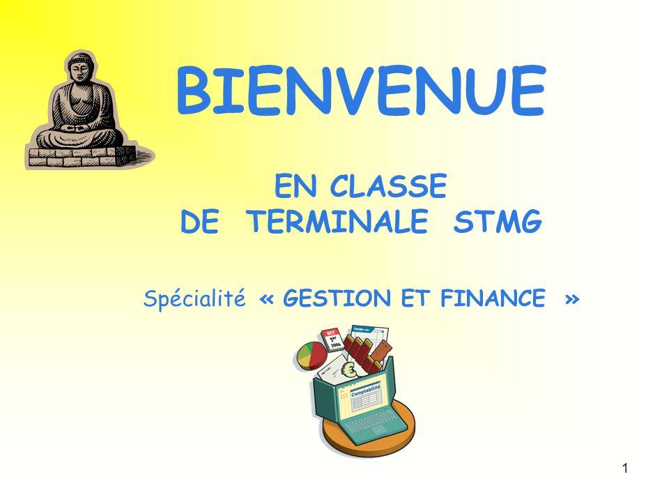 1 BIENVENUE EN CLASSE DE TERMINALE STMG Spécialité « GESTION ET FINANCE »